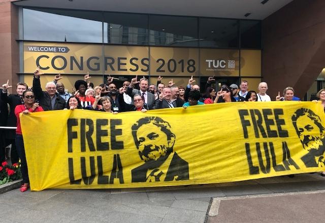 Dirigentes e participantes do 150º Congresso do TUC expressam sua solidariedade a Lula