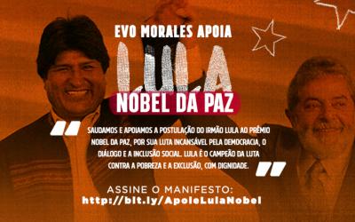 Evo Morales apoia Prêmio Nobel da Paz para o ex-presidente Lula
